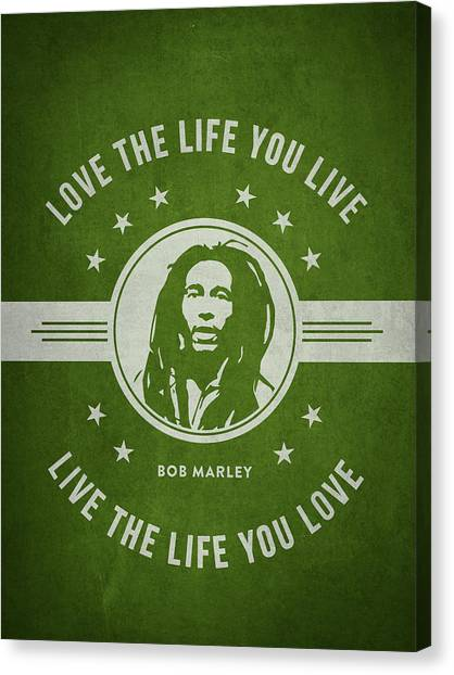 Survival Canvas Print - Bob Marley - Green by Aged Pixel