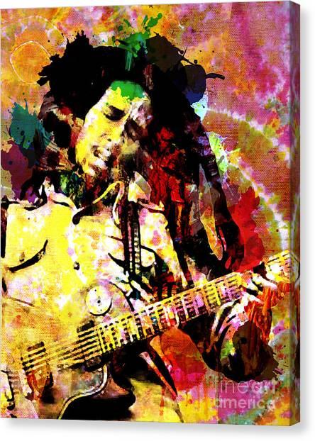 Tie-dye Canvas Print - Bob Marley Original Painting Print by Ryan Rock Artist