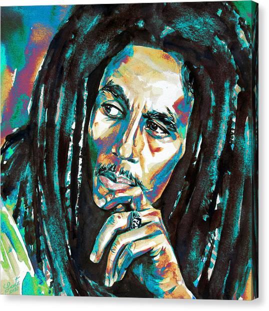 Bob Marley Watercolor Portrait.7 Canvas Print