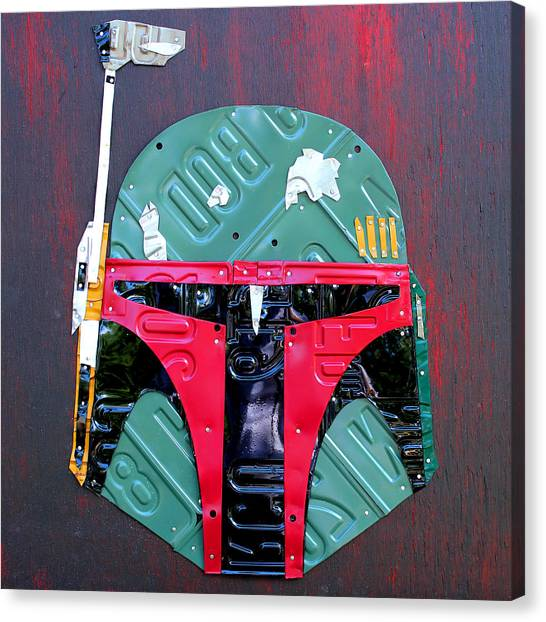 Boba Fett Canvas Print - Boba Fett Star Wars Bounty Hunter Helmet Recycled License Plate Art by Design Turnpike