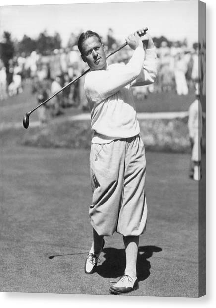Golf Course Canvas Print - Bobby Jones At Pebble Beach by Underwood Archives