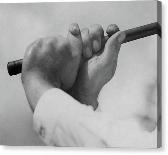 Bobby Jones Holding A Golf Club Canvas Print by O. B. Keeler