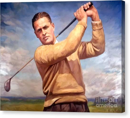 Golfers Canvas Print - bobby Jones by Tim Gilliland