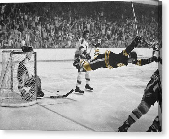 Boston Bruins Canvas Print - Bobby Orr 2 by Andrew Fare
