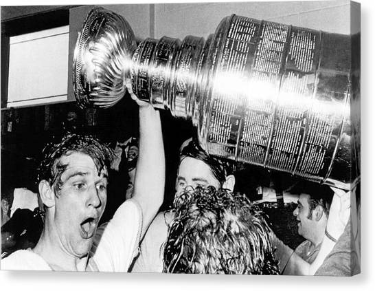 Boston Bruins Canvas Print - Bobby Orr With Stanley Cup by Underwood Archives