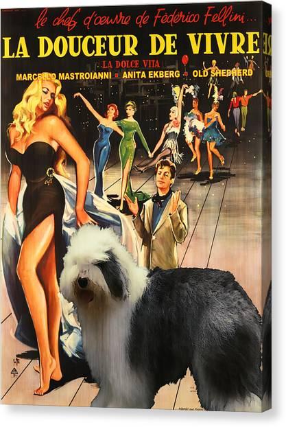 Bobtail -  Old English Sheepdog Art Canvas Print - La Dolce Vita Movie Poster Canvas Print