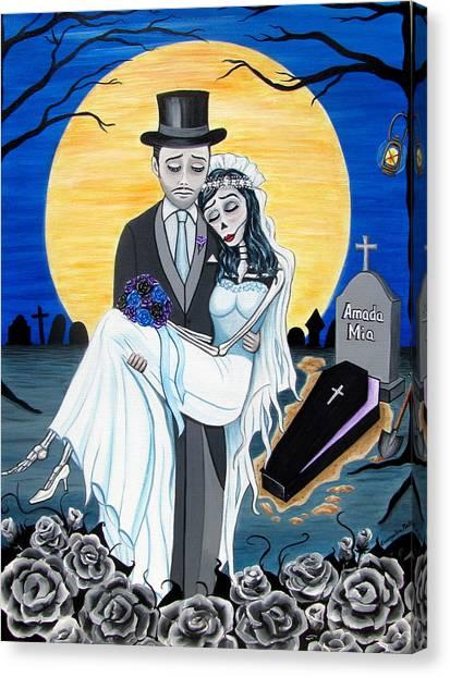 Boda Negra Enterrador Canvas Print
