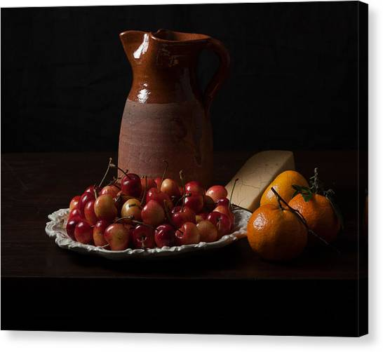 Bodegon With Cherries-oranges And Cheese Canvas Print by Levin Rodriguez