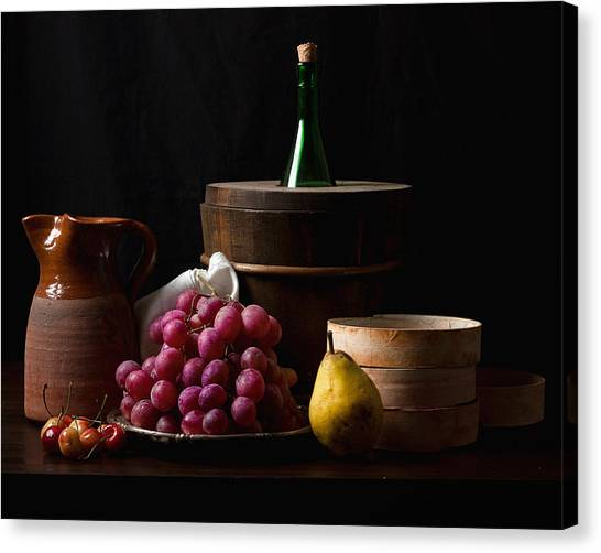 Bodegon With Grapes-pear And Boxes Canvas Print