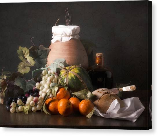 Bodegon With Grapes-watermelon And Big Jar Canvas Print by Levin Rodriguez