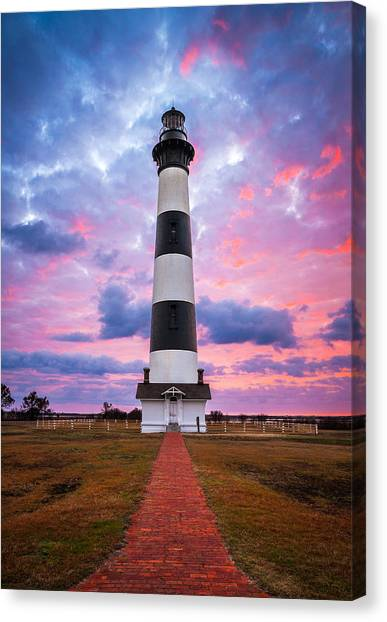 Cape Hatteras Lighthouse Canvas Print - Bodie Island Lighthouse Sunrise Obx Outer Banks Nc - The Gatekeeper by Dave Allen