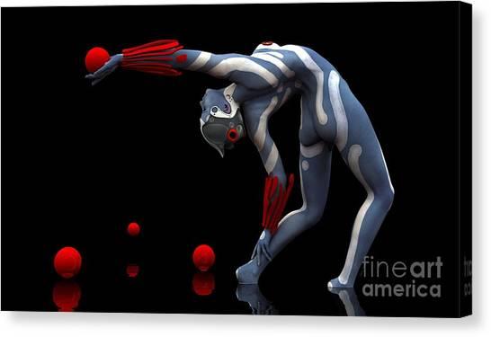 Canvas Print featuring the digital art Body In Motion by Sandra Bauser Digital Art