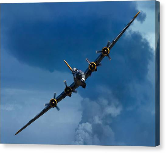 Bombs Canvas Print - Boeing B-17 Flying Fortress by Adam Romanowicz