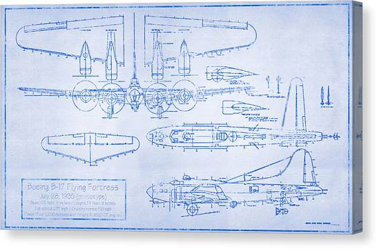 Airplane blueprint canvas prints page 11 of 19 fine art america airplane blueprint canvas print boeing b 17 flying fortress by ryan vosburg malvernweather Images