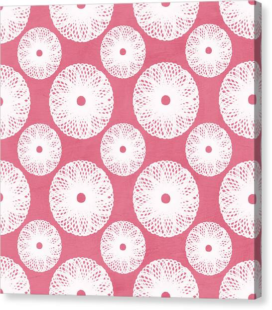 Art Nouveau Canvas Print - Boho Floral Pattern In Pink And White by Linda Woods