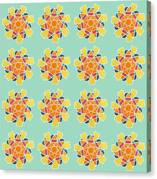 Diamond Canvas Print - Boho Mandala Print by Linda Woods