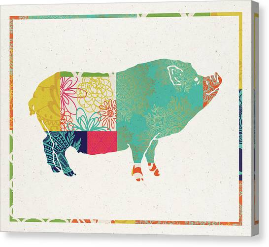 Pig Farms Canvas Print - Boho Pig by Tammy Apple