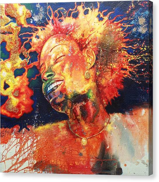 Boiling Flames Of Joy Canvas Print by Godwin Arikpo