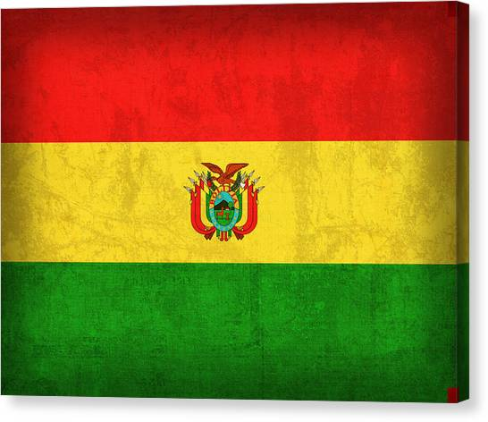 Bolivian Canvas Print - Bolivia Flag Vintage Distressed Finish by Design Turnpike
