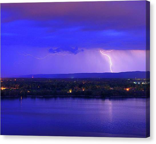 Bolt Over Gatineau Hills  Canvas Print