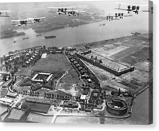 United States Army Air Corps Canvas Print - Bombers Over Governors Island by Underwood Archives