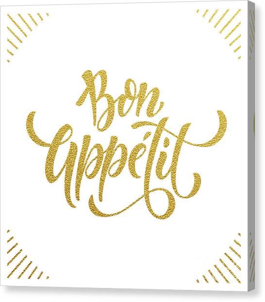 Bon Appetit Text.  Gold Text On White Canvas Print by Ron Dale