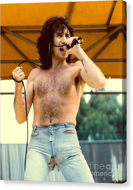 Ac Dc Canvas Print - Bon Scott Of Ac Dc At Day On The Green - July 1979 by Daniel Larsen