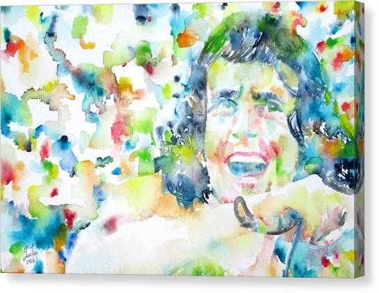Ac Dc Canvas Print - Bon Scott - Watercolor Portrait by Fabrizio Cassetta