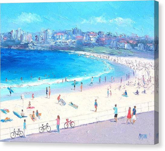 People Walking On Beach Canvas Print - Bondi Summer by Jan Matson