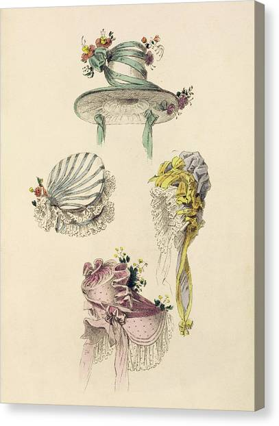 Fashion Plate Canvas Print - Bonnets For An Occasion, Fashion Plate by English School