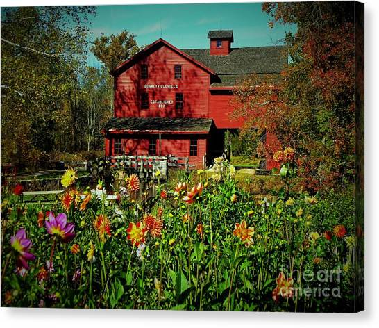 Bonneyville Grist Mill From Dahlia Garden Canvas Print by Rory Cubel