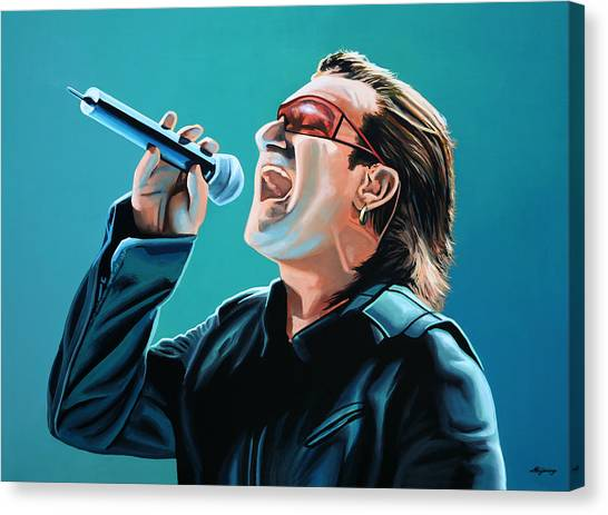 Punk Canvas Print - Bono Of U2 Painting by Paul Meijering