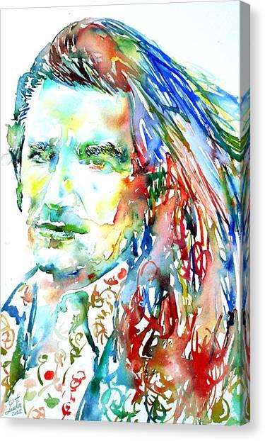 Bono Canvas Print - Bono Watercolor Portrait.2 by Fabrizio Cassetta