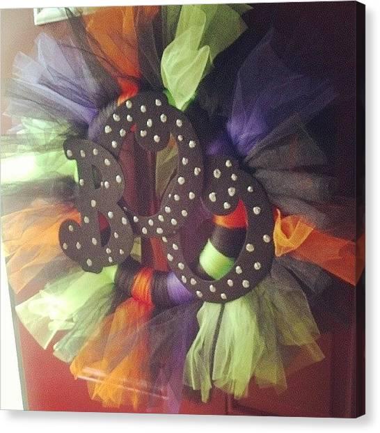 Wreath Canvas Print - Boo! #halloween #tutu #wreath by Lindsay Lanasa