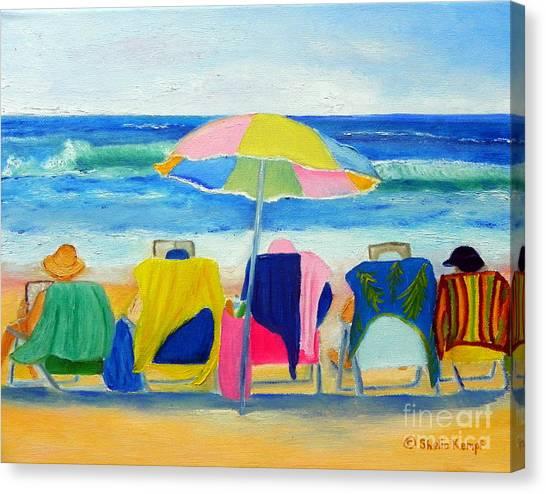 Book Club On The Beach Canvas Print