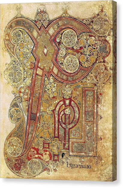 Romanesque Art Canvas Print - Book Of Kells. 8th-9th C. Chapter by Everett