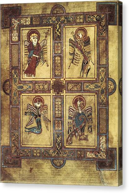 Romanesque Art Canvas Print - Book Of Kells. 8th-9th C. Fol.27v by Everett