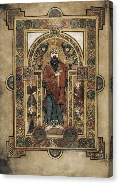 Romanesque Art Canvas Print - Book Of Kells. 8th-9th C. Saint John by Everett
