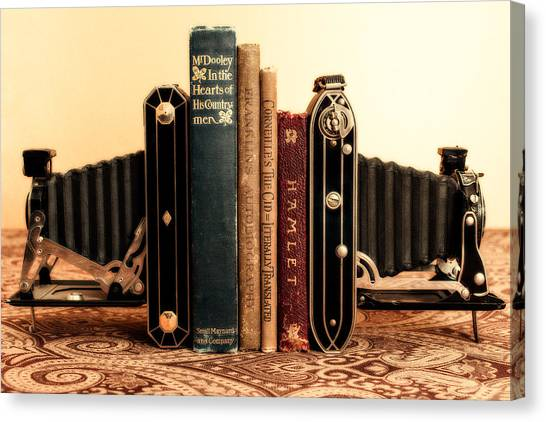 Vintage Camera Canvas Print - Bookends by Jon Woodhams