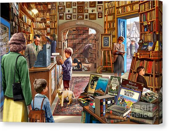 England Canvas Print - Bookshop by Steve Crisp