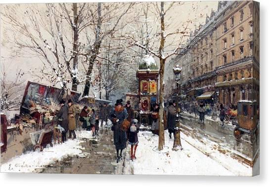 Snow Bank Canvas Print - Bookstalls In Winter Paris by Eugene Galien-Laloue