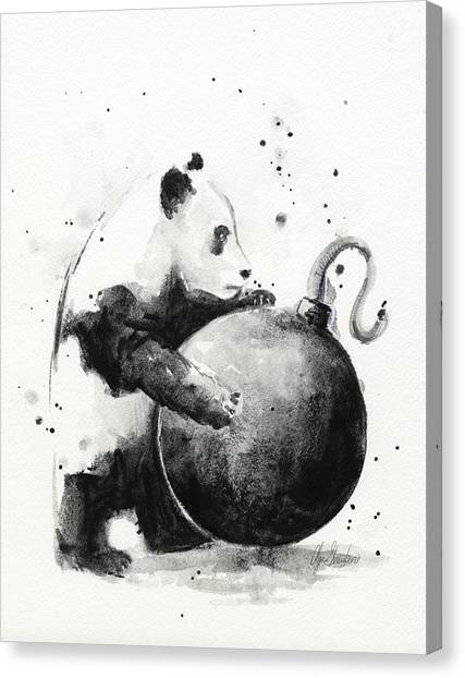 Bombs Canvas Print - Boom Panda by Olga Shvartsur
