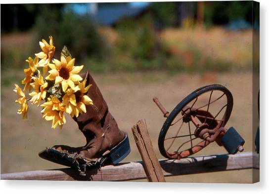 Boot With Flowers Canvas Print