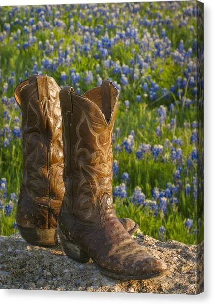 Cowboy Boots Canvas Print - Boots And Bluebonnets by David and Carol Kelly