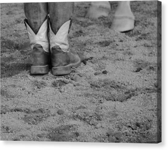 Cowgirl boots canvas print boots and horse hooves by dan sproul