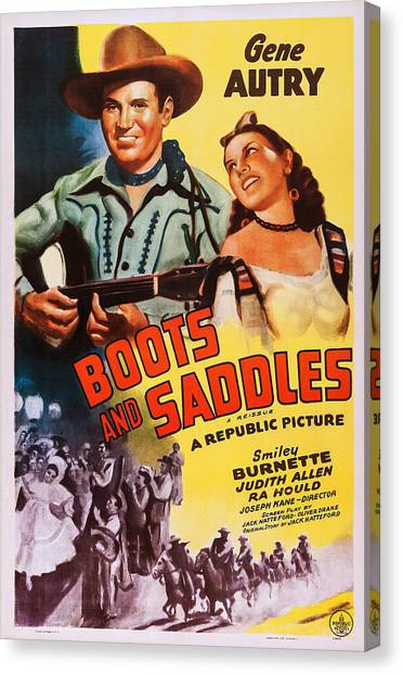Head Tilt Canvas Print - Boots And Saddles, Us Poster, Top by Everett
