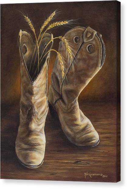 Boots And Wheat Canvas Print