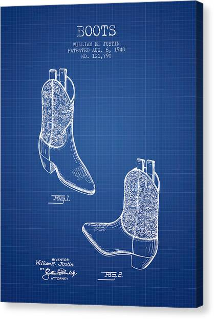Cowboy Boots Canvas Print - Boots Patent From 1940 - Blueprint by Aged Pixel