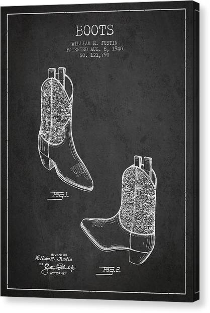 Cowboy Boots Canvas Print - Boots Patent From 1940 - Charcoal by Aged Pixel