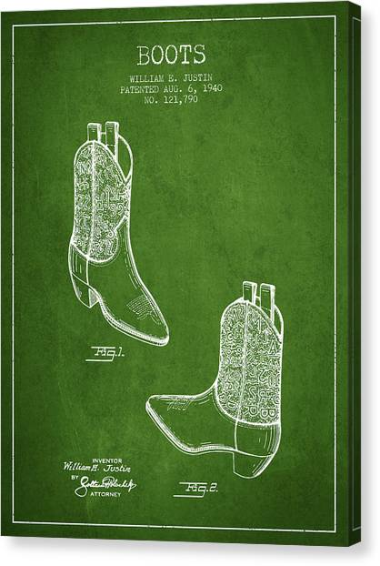 Cowboy Boots Canvas Print - Boots Patent From 1940 - Green by Aged Pixel